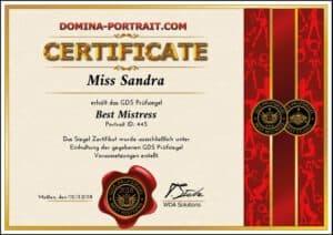 Zertifikat beste Domina